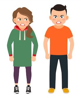 La discussione dei caratteri della sorella e del fratello vector l'illustrazione. bambini arrabbiati isolati
