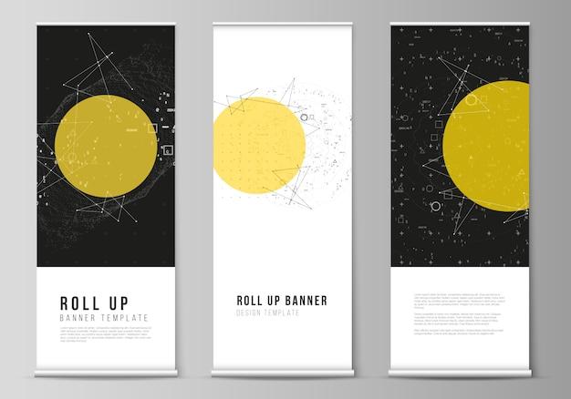 La disposizione dell'illustrazione di roll up banner stand, volantini verticali, bandiere design modelli di business. scienza o tecnologia 3d sfondo con particelle dinamiche. concetto di chimica e scienza.
