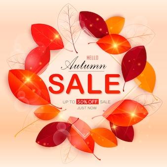 La disposizione dell'insegna di vendita di autunno decora con le foglie per la vendita di compera