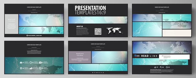 La disposizione di colore nero dei modelli di diapositive di presentazione ad alta definizione