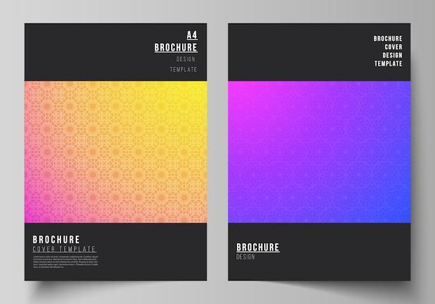 La disposizione vettoriale dei modelli di copertina a4 moderni mockup per brochure