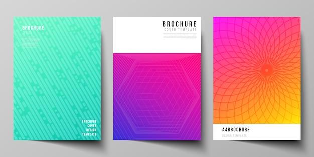 La disposizione vettoriale dei modelli di progettazione di mockup di copertina a4 per brochure