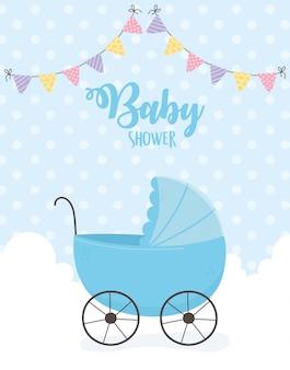 La doccia di bambino, carrozzina blu si appanna l'illustrazione del fondo punteggiata stendardi