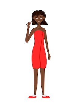La donna africana di bellezza applica il trucco sul viso. stile cartone animato.