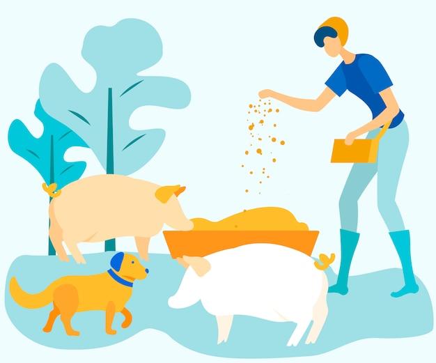 La donna alimenta il bestiame sull'illustrazione di vettore dell'azienda agricola