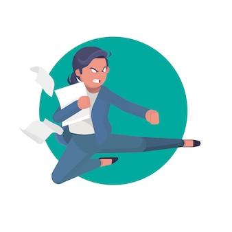 La donna arrabbiata di affari ha emesso un calcio di arti marziali sul lavoro