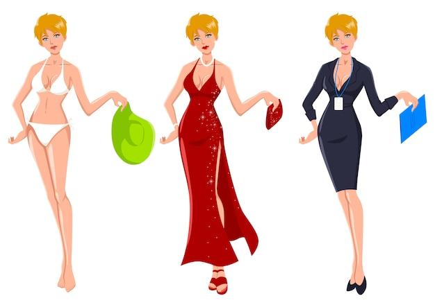 La donna bionda si veste per tre diverse occasioni