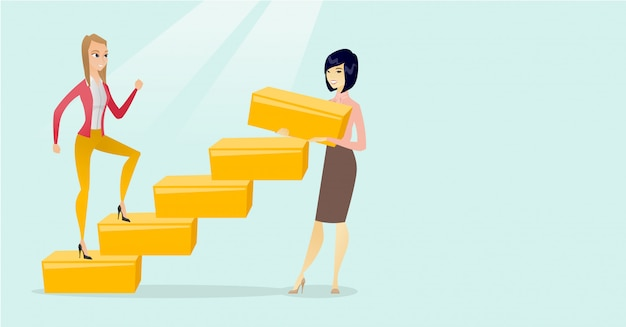 La donna caucasica di affari funziona sulla scala di carriera