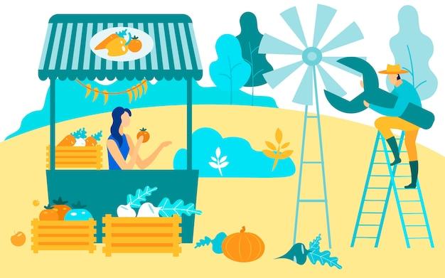 La donna con il pomodoro in mani vende la verdura.