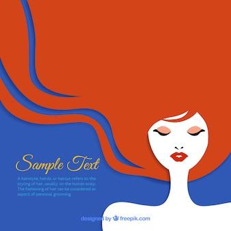 La donna con lunghi capelli rossi, sfondo