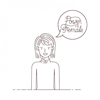 La donna con potere dell'etichetta è carattere femminile dell'avatar