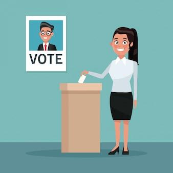 La donna della scena del fondo in cappotto e gonna vota per il candidato maschio