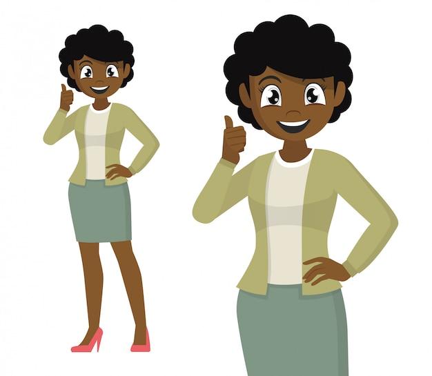 La donna di affari africana che mostra i pollici aumenta il segno.