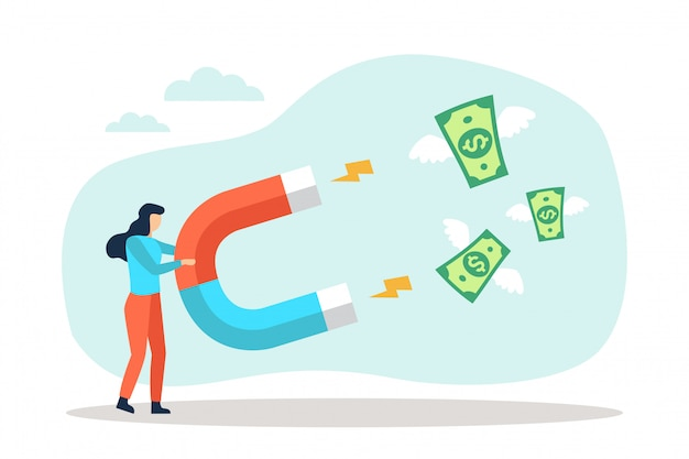 La donna di affari attira le banconote in dollari dei soldi con un grande magnete
