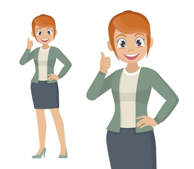 La donna di affari che mostra i pollici aumenta il segno.