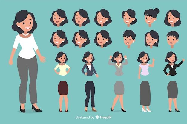 La donna di affari ha impostato con differenti posizioni