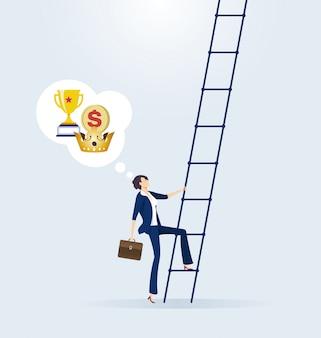 La donna di affari scala la scala