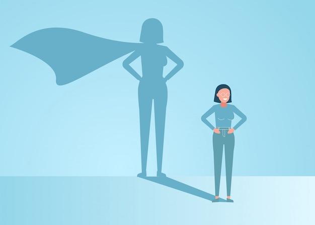 La donna di affari sogna di diventare un supereroe. giovane uomo d'affari bello sicuro che sta l'illustrazione di concetto dell'ombra del supereroe