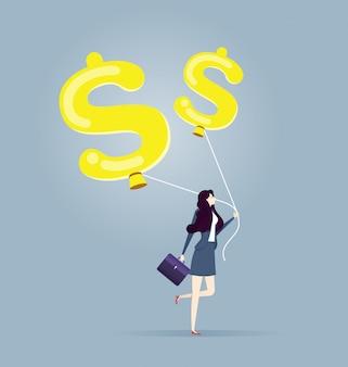 La donna di affari va con un pallone a forma di dollaro - concetto di affari e finanza.