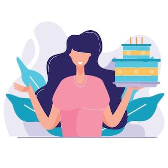 La donna di compleanno sta tenendo l'illustrazione di vettore della torta con le candele