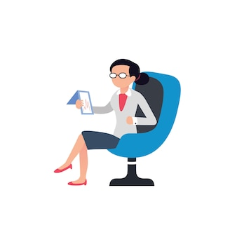 La donna di design piatto è seduta su una sedia