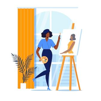 La donna dipinge il ritratto piano