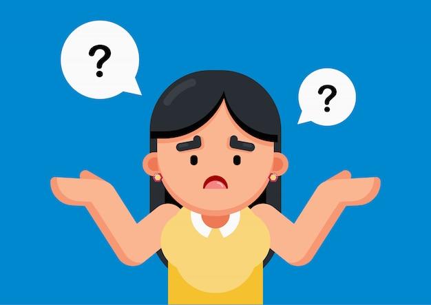 La donna è confusa e pensando con segno di punti interrogativi