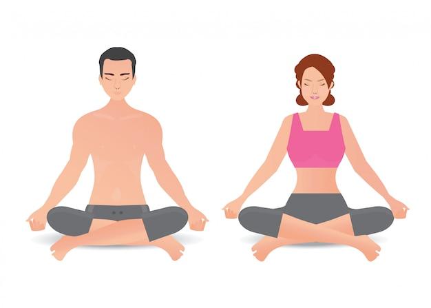 La donna e l'uomo calmi stanno facendo l'yoga e la meditazione isolati su fondo bianco.