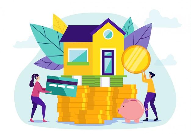 La donna e l'uomo comprano le rate della nuova casa