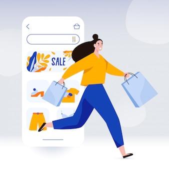 La donna felice con le borse funziona per lo shopping. modello di schermata del negozio online. promozione di vendita e shopaholic, illustrazione di concetto di black friday nello stile piano.
