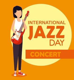 La donna gioca la chitarra elettrica al giorno di jazz