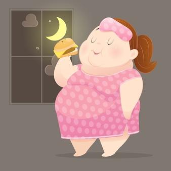 La donna grassa si diverte a mangiare molti cibi spazzatura
