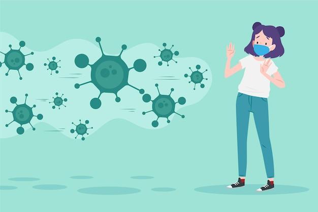 La donna ha paura della malattia da coronavirus