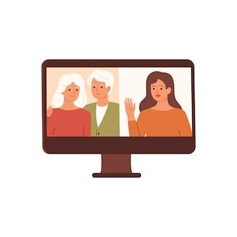 La donna ha una videoconferenza con i suoi genitori. videochiamata in famiglia, conversazione a distanza. vettore