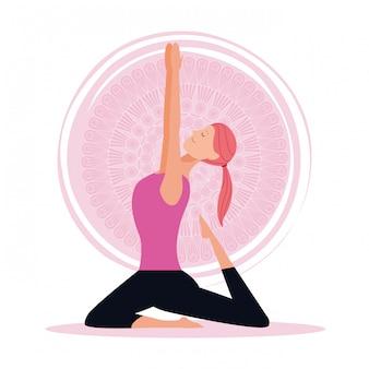 La donna in yoga pone