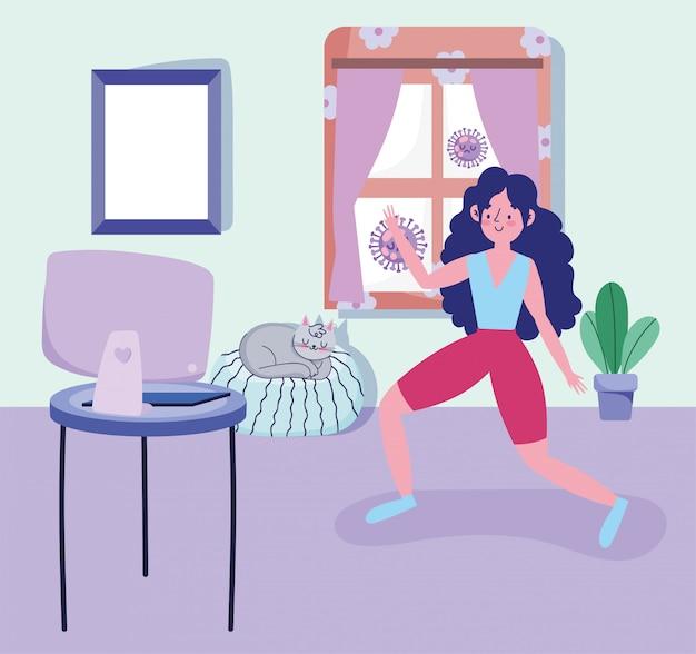 La donna nella sala pratica l'attività sportiva esercita a casa covide 19 pandemia