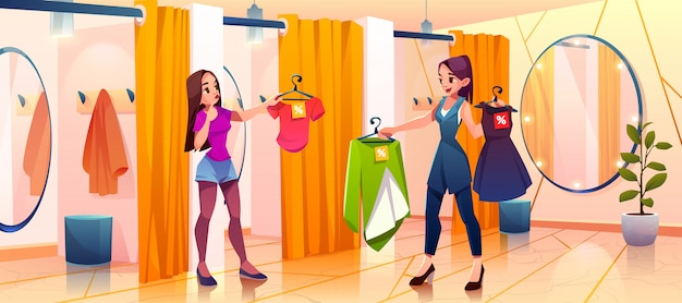La donna nella stanza adatta prova sui vestiti nel deposito