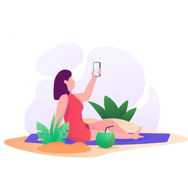 La donna prende l'immagine sull'illustrazione della spiaggia