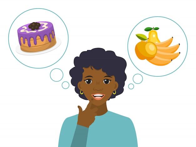 La donna sceglie tra cibo malsano e sano. alimento di nutrizione sana nella dieta femminile
