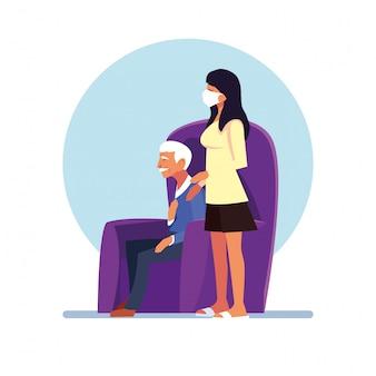 La donna si prende cura del vecchio