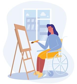 La donna si siede in sedia a rotelle disegna il reparto ospedaliero