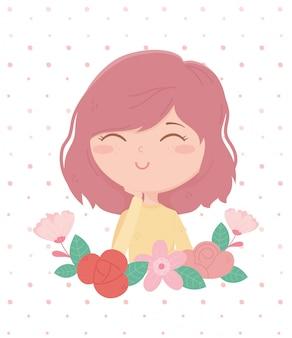 La donna sorridente fiorisce il fondo punteggiato decorazione del fumetto