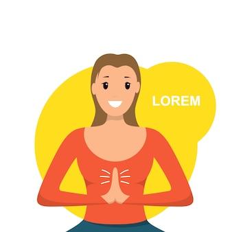 La donna sorridente si siede lo sport implicato posizione di lotus