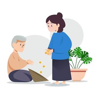 La donna sta facendo l'elemosina al vecchio