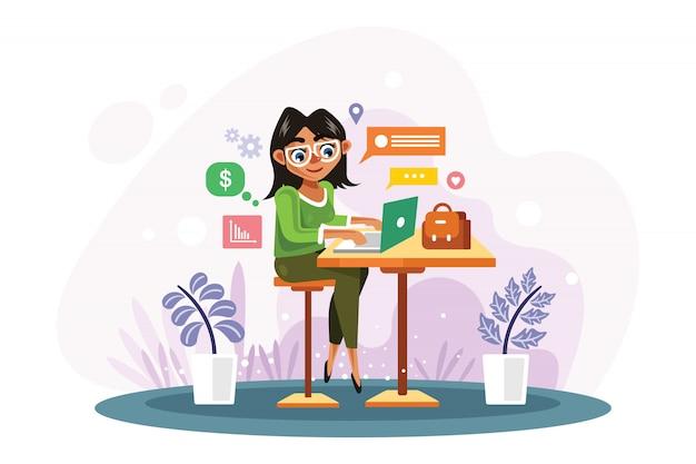 La donna sta lavorando con l'illustrazione di vettore del computer portatile
