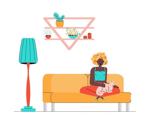La donna sullo strato accarezza il gatto, illustrazione nello stile di schizzo