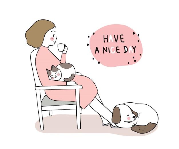La donna sveglia del fumetto beve il rilassamento sonnolento del caffè e del gatto e del cane