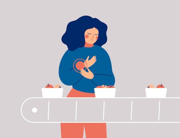 La donna triste ha dolore, disagio in mano. la giovane donna packer ha subito un infortunio al polso durante il lavoro