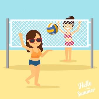 La donna va a viaggiare in vacanza estiva, le ragazze giocano a pallavolo sulla spiaggia