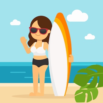 La donna va viaggiare durante le vacanze estive, giovane donna su una spiaggia con una tavola da surf
